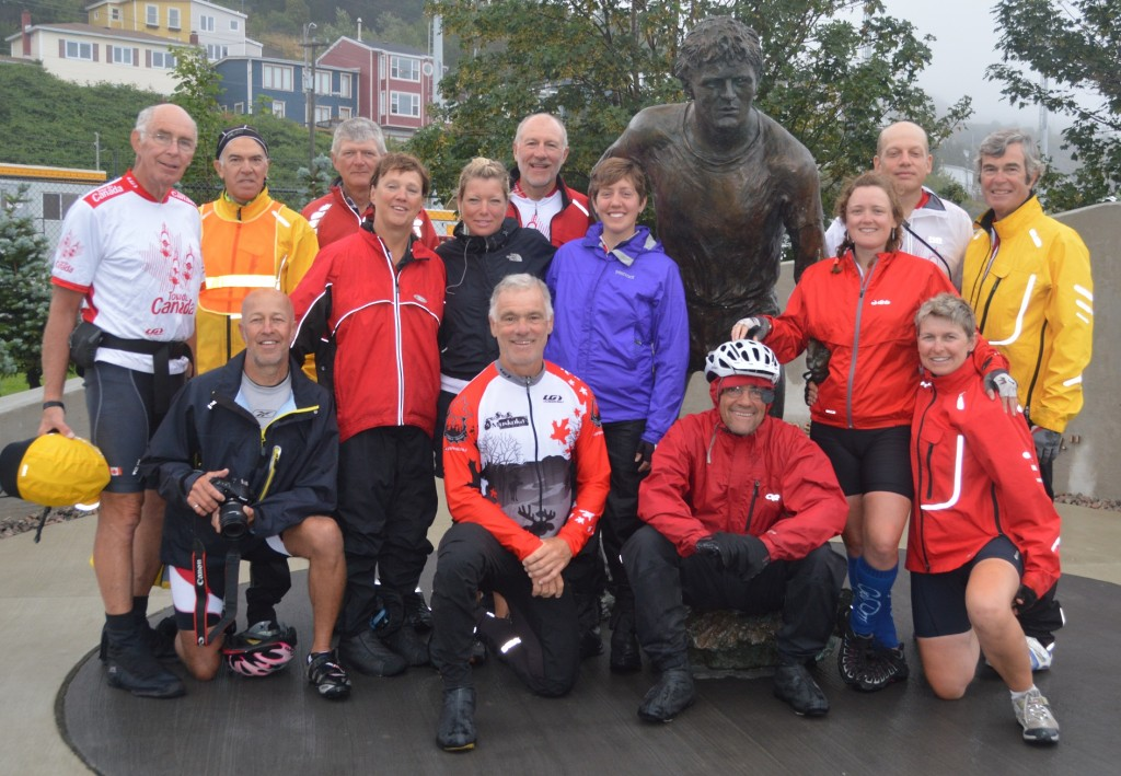 """Dan and Joyce with most of the riders at the Terry Fox """"Mile '0'"""" monument."""