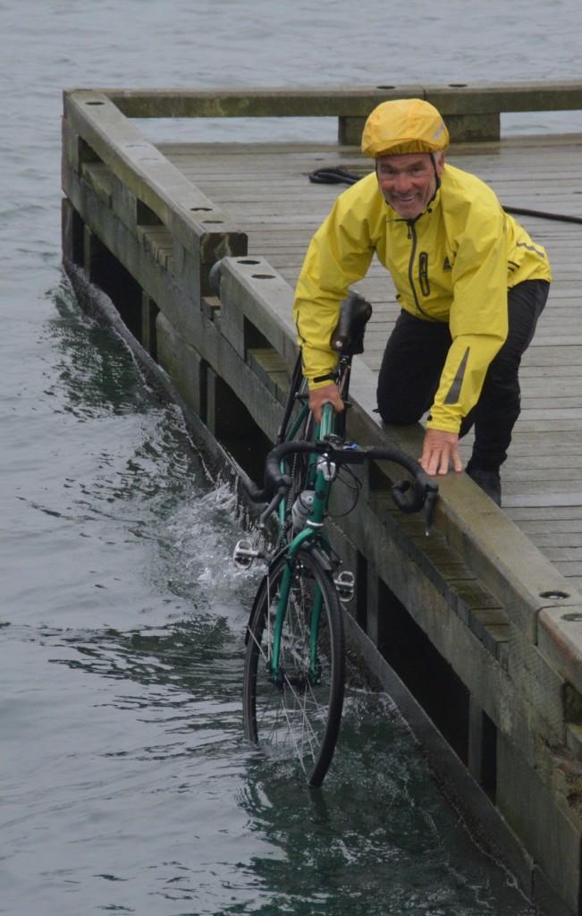 Dan dipping front wheel in Atlantic