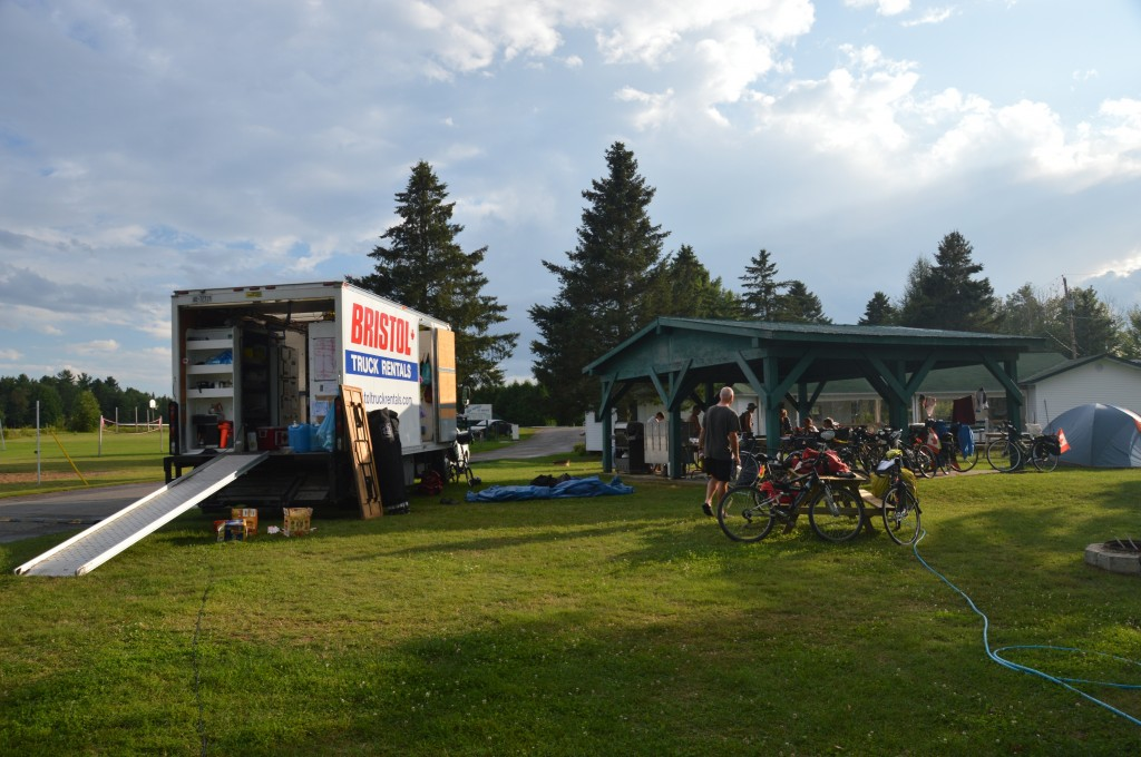 our truck conveniently parked at Lac Michelle Campground, PQ