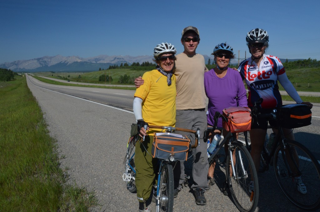 Bill, Adam, Joyce, and Megan during requested water stop east of Canmore