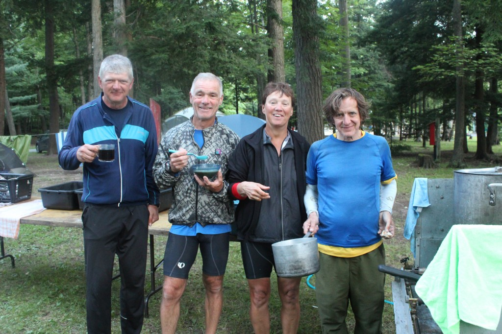 #1 cook crew:  Mike, Dan, Joyce, and Bill at Camp Daoust, Hudson, PQ