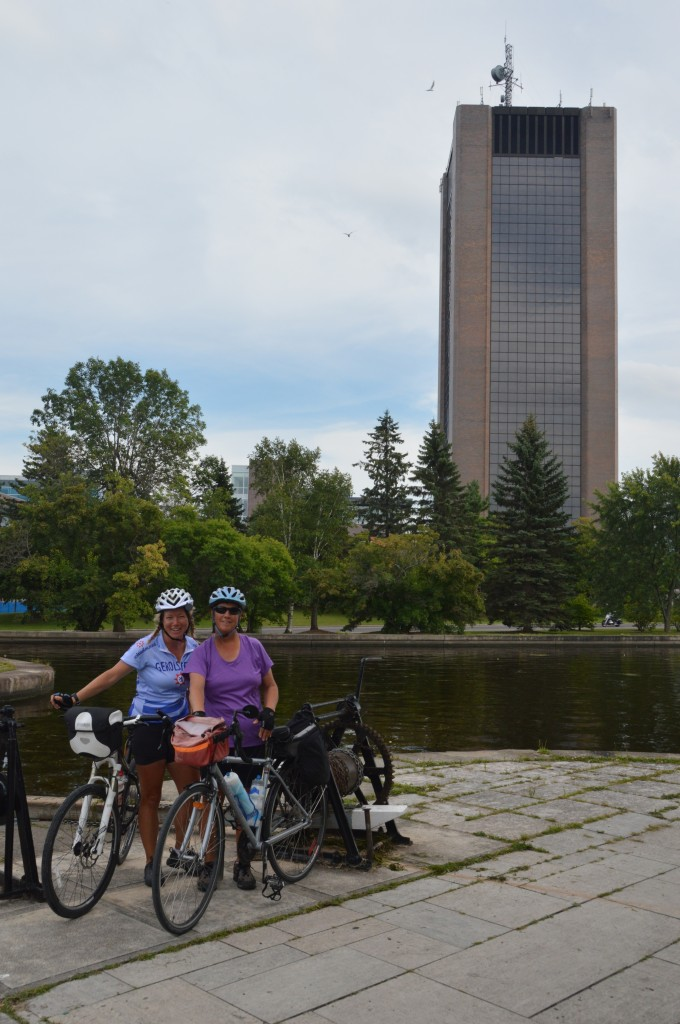 Joyce and Becky with the Rideau Canal and Carlton University in the background