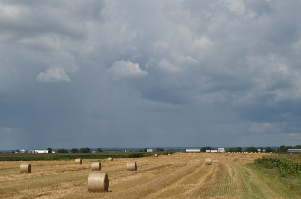 storm, which we purposely missed, eastbound across ever-present farmland