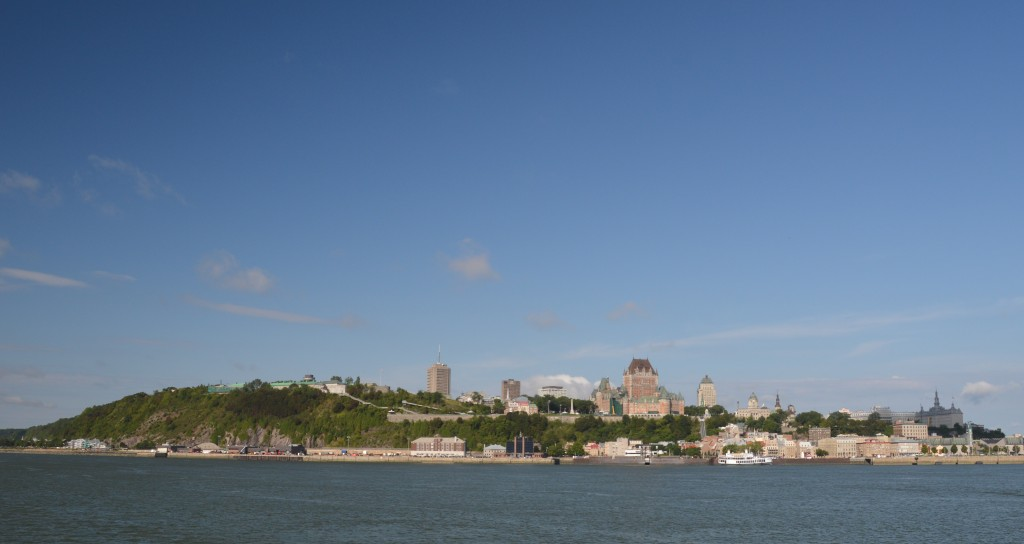 Quebe City skyline from ferry; Chateau Frontenac right centre; Citadel left centre