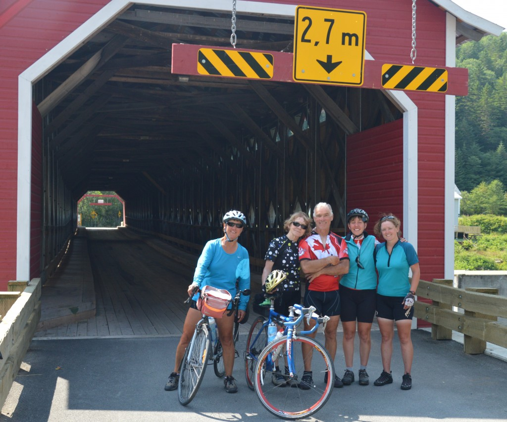 Joyce, Mary, Dan, Myra, and Louise at Routierville covered bridge