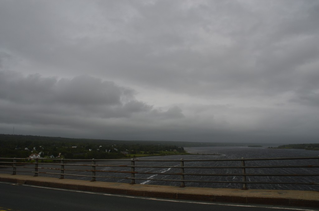strong easterly wind; crosswind over bridge; tailwind for riding most of the day; storm chasing us